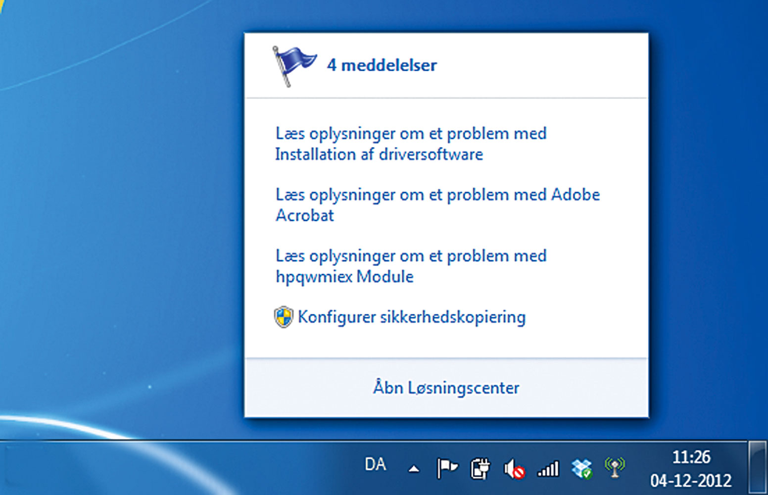 Udnyt Løsningscenter i Windows 7